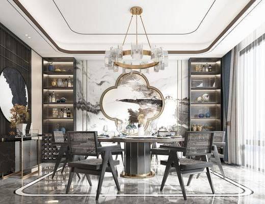 餐桌, 餐椅, 吊灯, 挂画, 边柜, 书柜, 餐具, 装饰品