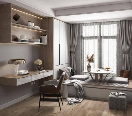 榻榻米, 书桌, 衣柜, 窗帘