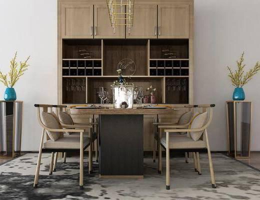 餐桌椅, 桌椅组合, 餐桌, 餐椅, 单人椅, 餐具, 花瓶花卉, 吊灯, 酒柜, 新中式