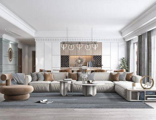 沙发组合, 吊灯, 餐桌, 单椅, 电视