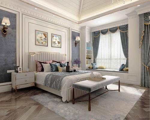 臥室, 床具組合, 掛畫組合, 壁燈組合, 擺件組合, 美式