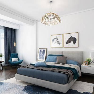 卧室, 床具, 双人床, 北欧, 现代, 床头柜, 台灯, 挂画, 装饰画, 吊灯, 单椅, 圆几, 盆栽, 植物, 摆件, 装饰品, 地毯