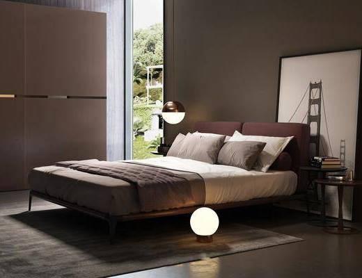 北欧, 双人床, 吊灯, 装饰灯, 挂画, 衣柜, 床头柜