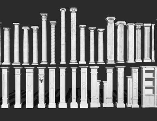 石膏线, 柱子