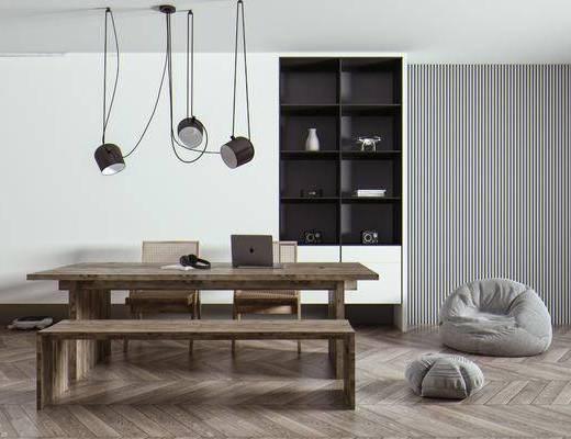 办公桌, 长条凳, 办公椅, 懒人沙发, 饰品摆件, 装饰柜, 吊灯