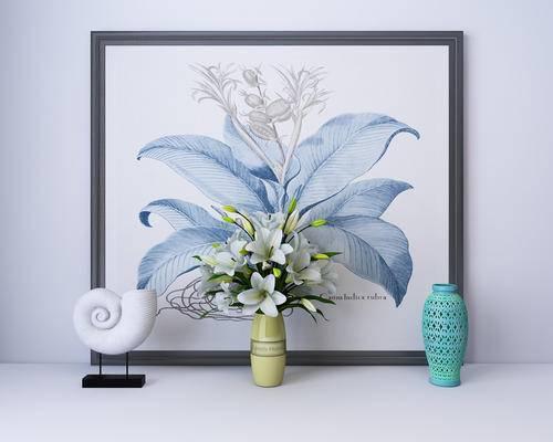 陈设品, 陈列品, 花瓶, 装饰画