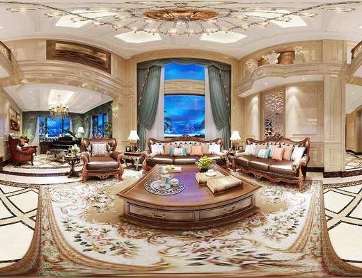 欧式, 客厅, 茶几, 摆件, 沙发组合