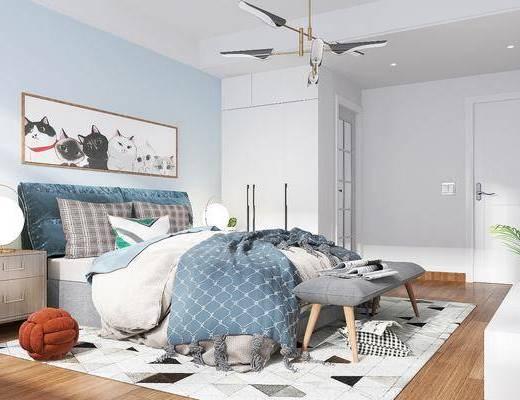 卧室, 双人床, 床具组合, 吊灯, 装饰画, 电视柜