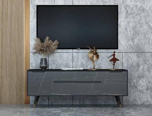 现代轻奢岩板电视柜