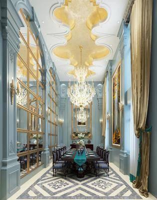 法式餐厅, 餐桌椅, 桌椅组合, 餐桌, 吊灯