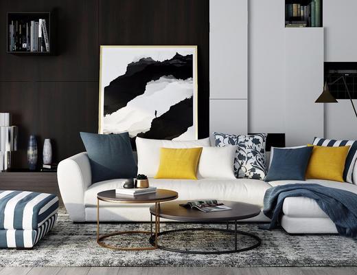 北欧简约, 白色, 沙发茶几组合, 装饰画, 陈设品组合