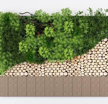 植物墙, 绿植墙, 植物, 绿植, 圆木, 木饼