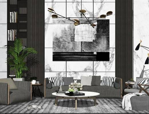 背景墙, 吊灯, 装饰, 摆件组合, 休闲椅