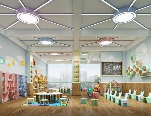 幼儿园, 教室, 桌子, 单人椅, 装饰柜, 置物架, 书籍, 摆件, 装饰品, 陈设品, 现代