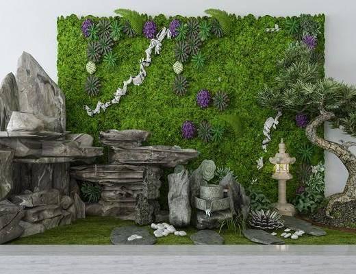 景观小品, 园艺小品, 植物墙, 石头假山, 树木, 新中式