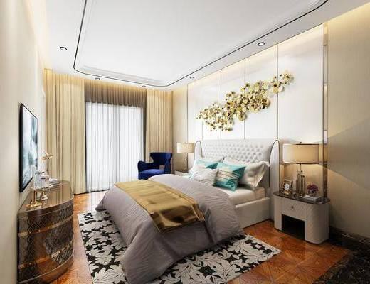 简欧卧室, 卧室, 现代卧室