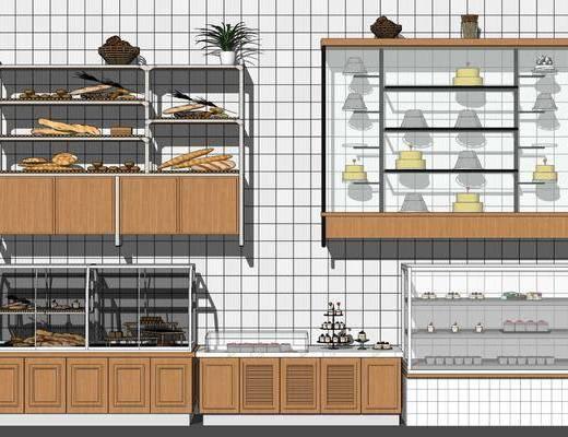 现代, 甜品店, 展柜, 组合