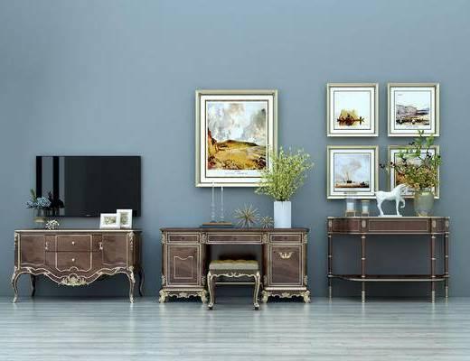 新古典装饰柜, 电视柜, 边柜, 化妆台, 挂画, 电视