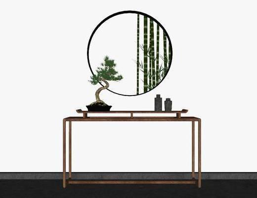 端景台, 边几, 摆件组合, 植物