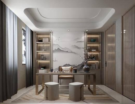 书桌, 桌椅组合, 背景墙, 衣柜, 摆件