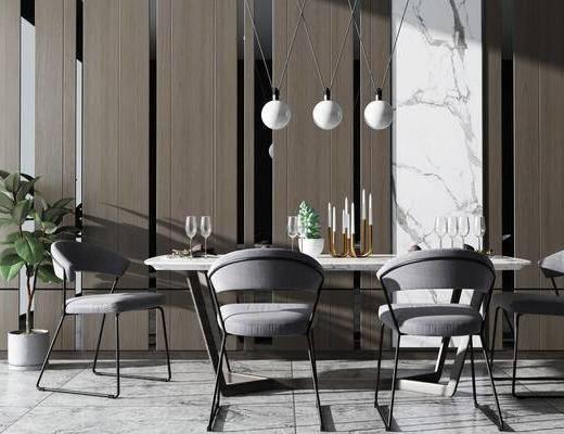 桌椅组合, 餐桌, 椅子, 吊灯, 盆栽, 现代