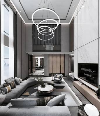 现代跃层客厅, 别墅, 现代吊灯, 灰色多人沙发, 茶几, 落地窗