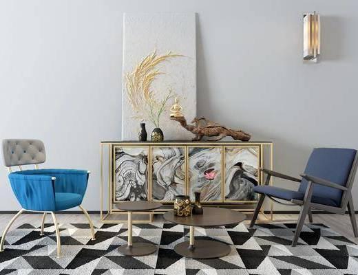 边柜, 装饰柜, 休闲椅, 茶几, 壁灯, 单人椅, 摆件, 装饰品, 陈设品, 现代