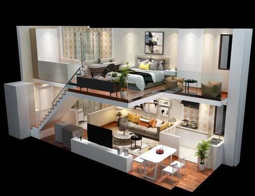 复式, 整套, 卧室, 客厅, 沙发, 床