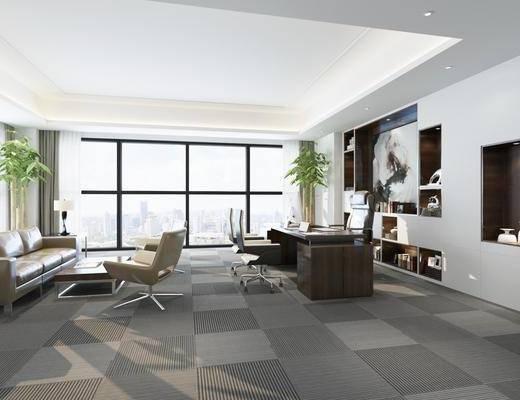 办公室, 多人沙发, 茶几, 单人椅, 办公椅, 边几, 台灯, 装饰柜, 书籍, 装饰品, 陈设品, 摆件, 装饰画, 挂画, 现代