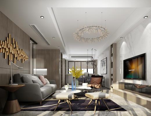 现代客厅, 沙发茶几组合, 壁挂, 台灯, 吊灯, 椅子