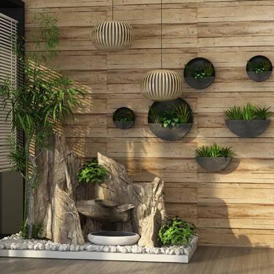 新中式, 户外, 园林, 小品, 园艺, 盆栽, 墙饰, 植物, 假山