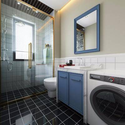 卫生间, 洗衣机, 马桶, 装饰镜, 花洒, 现代简约