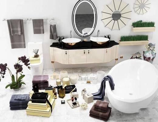 卫浴组合, 洗浴组合, 洗手盆, 化妆品