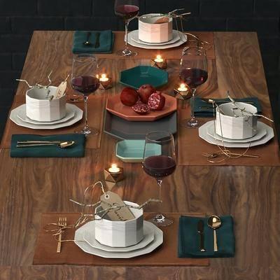 餐桌, 餐具, 杯子, 现代, 水果