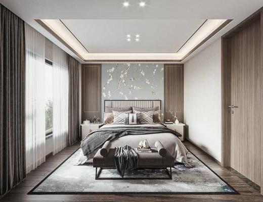 新中式, 卧室, 双人床, 床头柜, 地毯, 窗帘