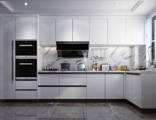 厨房电器, 厨房用品, 侧吸油烟机, 灶具, 水槽, 蒸箱烤箱