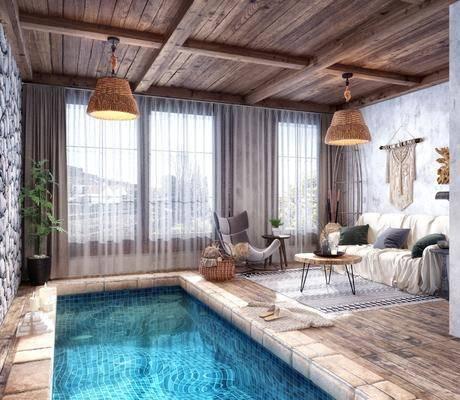 民宿温泉, 酒店休息区, 洽谈会客, 多人沙发, 茶几, 单人沙发, 吊灯, 墙饰, 边几, 水池, 美式