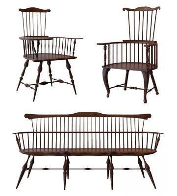 椅子, 单椅, 美式椅子, 美式单椅, 实木单椅, 多人椅, 美式
