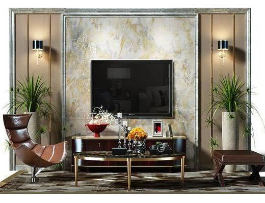 电视墙, 背景墙, 电视背景墙, 盆景, 植物, 壁灯, 地毯, 椅子, 休闲椅, 凳子, 茶几, 电视柜, 后现代, 现代