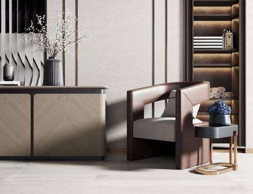 新中式, 单椅, 边几, 边柜