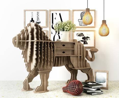 狮子动物, 装饰柜架, 吊灯, 组合画, 北欧