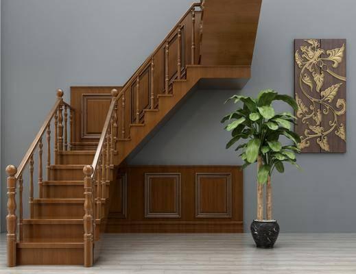 楼梯, 新中式楼梯, 护栏, 挂画, 植物, 盆栽, 新中式