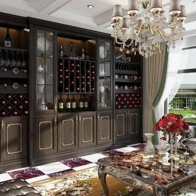 酒柜, 客厅酒柜, 欧式酒柜, 欧式, 沙发组合, 茶几, 吊灯