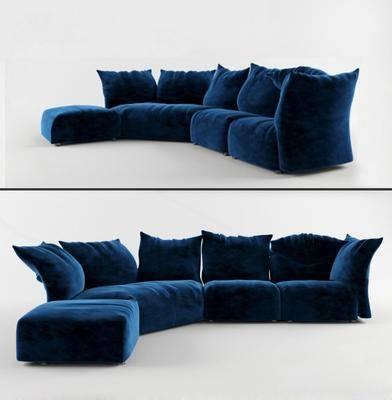 沙发, 多人沙发, 绒布, 现代