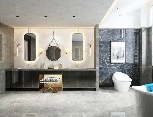 卫生间, 洗手台, 凳子, 马桶, 装饰画, 挂画, 壁灯, 吊灯, 摆件, 装饰品, 陈设品, 现代