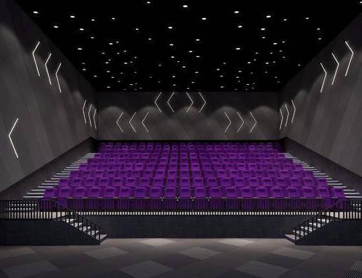 电影院, 单人椅, 楼梯, 现代