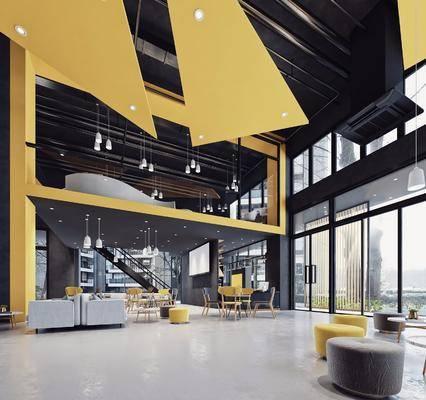 现代健身室, 现代弓箭馆, 现代吧台, 沙发组合, 门头