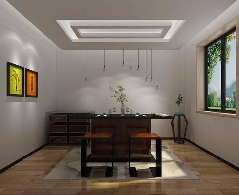 茶几组合, 茶桌, 单人椅, 吊灯, 装饰画, 挂画, 装饰架, 边柜, 摆件, 装饰品, 陈设品, 现代