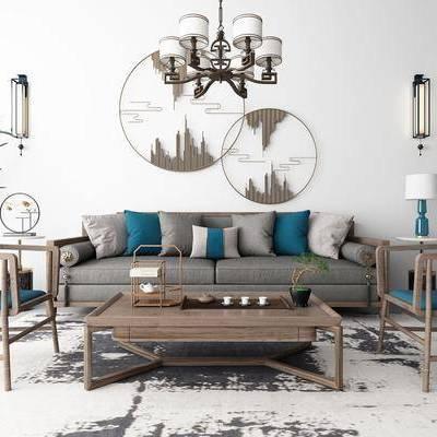 沙發組合, 多人沙發, 茶幾, 單人椅, 邊幾, 臺燈, 壁燈, 吊燈, 圓框畫, 裝飾架, 盆栽, 綠植, 茶具, 新中式