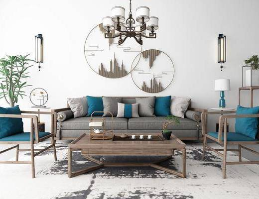 沙发组合, 多人沙发, 茶几, 单人椅, 边几, 台灯, 壁灯, 吊灯, 圆框画, 装饰架, 盆栽, 绿植, 茶具, 新中式